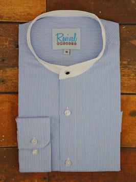 1940s Collarless Shirt, Blue Stripe