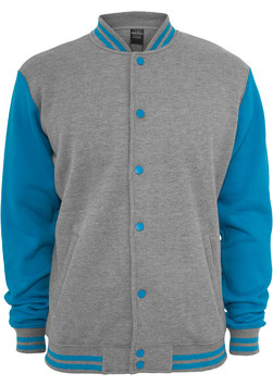 ProduktnameKids 2-tone College Sweatjacket, GrauTürkis