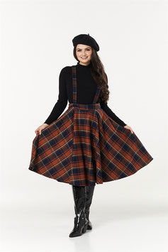 Sophie Skirt with Braces, Navy/Rust Checked