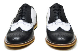Twister Brogue Shoe, Black/White Grain