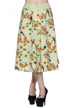 Green Butterfly and Flowers Long Skirt