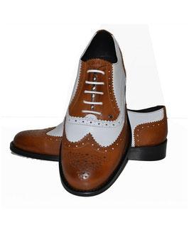 Derby Shoe, Tan/White