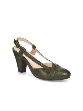 Elena Snakeskin Heel, Green