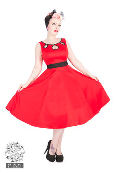 50s Red Eva, Keyhole Dress
