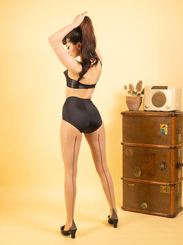 Contrast Seamed Tights Champagne Black