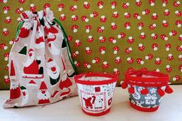 Set Teelichtgläser im Weihnachtsbeutel