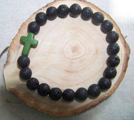 Armband Lavaperlen mit Kreuz