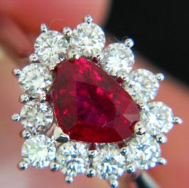 ディヴィッド・ジェロームコレクションより非処理ビルマ産ルビーリング 1.43ct ダイヤモンド0.74ct 950プラチナ使用