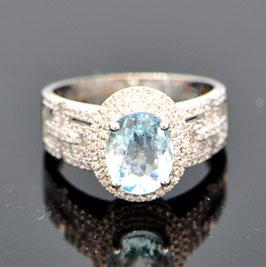 デイビッド・ジェロームコレクションより 非処理ブラジル産パライバリング 1.78ct 18kホワイトゴールド ダイヤモンド0.49ct (HOLD)
