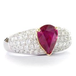 ディヴィッド・ジェロームコレクションより非処理ルビーリング 1.54ct ダイヤモンド1.00ct ホワイト&イェローゴールド