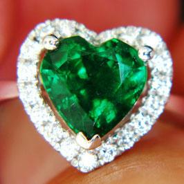 デイヴィッドジェロームコレクションより オイル加工なしコロンビア産エメラルドリング1.98ct ホワイトゴールド ダイヤモンド0.29ct