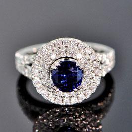 ジェロームコレクションより非処理ビルマ産ブルーサファイアリング 2.16ct ダイヤモンド0.88ct ホワイトゴールド