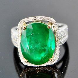 デイヴィッドジェロームコレクションより オイル加工なし 非処理ザンビア産エメラルドリング 9.84ct イエローとホワイトゴールド使用 ダイヤモンド 0.63ct