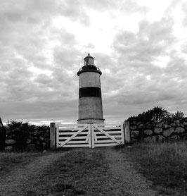 Glommen Lighthouse schwarz weiß auf Leinwand 50x50 cm