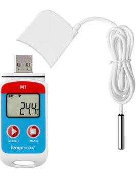 Mehrweg Datenlogger tempmate.®-M1 mit integriertem USB-Anschluss und externen Sensor
