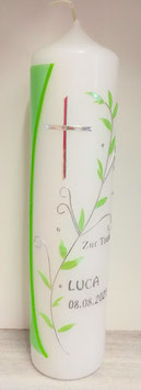Taufkerze apfelgrün mit Blätterranke