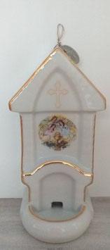 Weihwasserkessel Porzellan mit Engelbild
