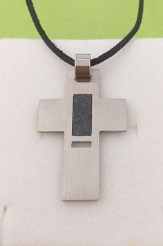 Kreuzanhänger Edelstahl mit Schiefereinlage