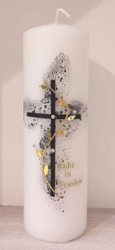 Trauerkerze schwarzes Kreuz mit Blätterranke