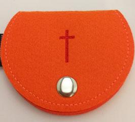 Rosenkranztasche Filz mit Kreuz