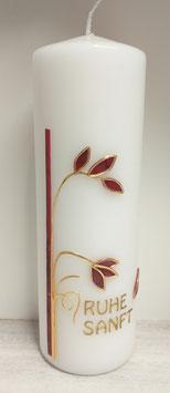 Trauerkerze Blätter rot/gold