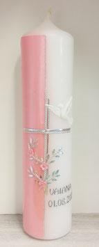 Taufkerze Blumen rosa mit Glitzer