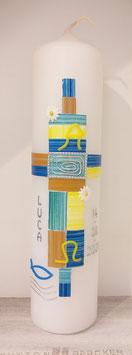 Taufkerze Kästchen blau/gelb/orange gestrichelt