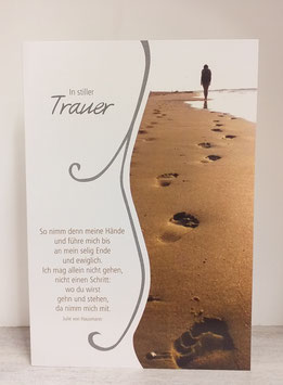 Kondolenzkarte Spuren im Sand