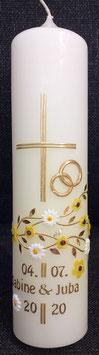 Hochzeitskerze gelbe Blumen