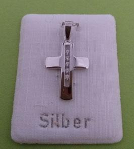 Kreuzanhänger Silber mit Zirkonsteinchen