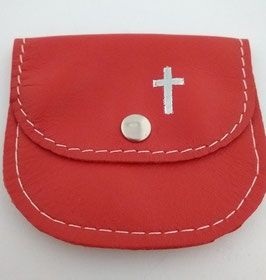 Rosenkranztäschchen Leder mit Kreuz