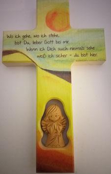 Kinderkreuz mit Schutzengel aus Ton