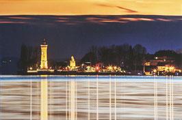 Leinwand Lindau Hafen in der Nacht 20x30 cm
