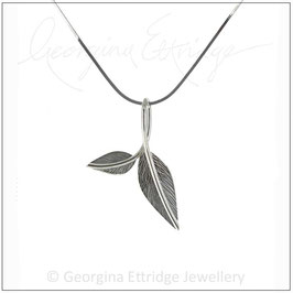 Mini - Two Engraved Leaves Necklace