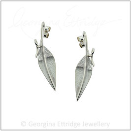 Willow - Engraved Leaf Earrings