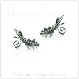 English Oak Leaf & Curled Tendril Earrings
