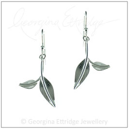 Two Engraved Leaves Earrings