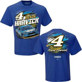 "#KH4AO - Kevin Harvick ""4"" NASCAR T-Shirt - All Over - Blau"
