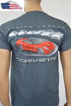 #CVLLV - Corvette C7 T-Shirt - Corvette C1 bis C7 - Living Legend - Grau