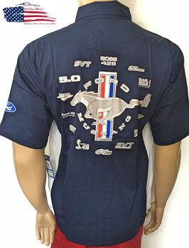 Ford Mustang Mechanikerhemd - Pit Crew Shirt - Marineblau - SALE