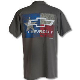 Chevrolet T-Shirt - Texas Flag Chevrolet Bowtie - Grau