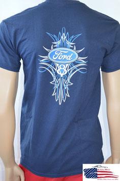#TS1040 - Ford T-Shirt V8 Logo - Pinstripe