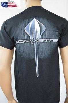 #CVSRL - Corvette C7 T-Shirt - Corvette Stingray Emblem - Schwarz