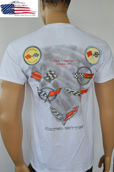 #CVFLV-W - Corvette T-Shirt - Legend lives on - C1 bis C7 Flags - Weiß