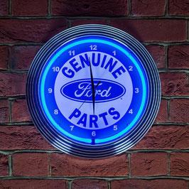 #FRDNCB - Ford Neonuhr - Ford Genuine Parts Logo - Neon Blau