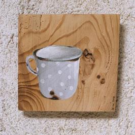 Emaille-Kaffeetasse grau mit Tüpfelchen :-)