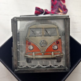 Mini-Unikat VW-Bus orange/beige zum Aufhängen (Zink) 22092016 E
