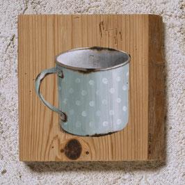 Emaille-Kaffeetasse hellblau mit Tüpfelchen :-)
