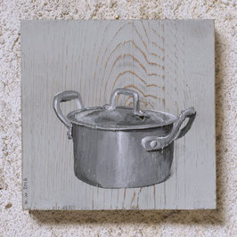 Alu-Kochtopf Malerei auf Fichte