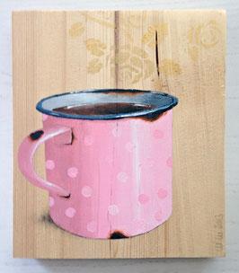 Rosa Tasse mit rosa Punkten